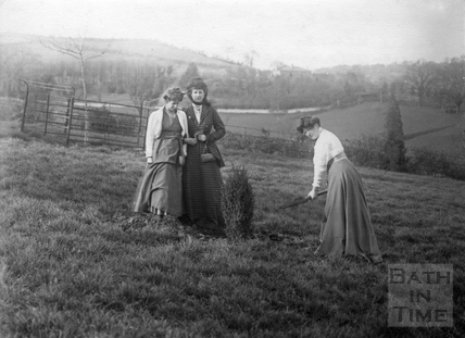 Suffragette Clara Codd planting tree with Annie Kenney and Florence Canning 25 April 1909