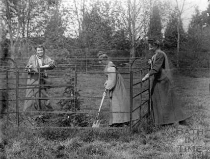 Suffragette Annie Kenney planting tree with Mrs Emmeline Pethick Lawrence and Lady Constance Lytton 1909