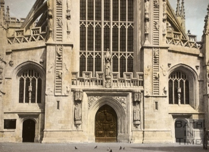 Jacob's Ladder and West Door, Bath Abbey, Bath 1961