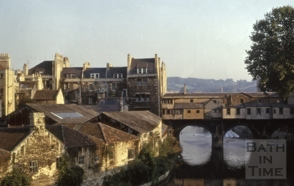 North side of Pulteney Bridge and Grove Street, Bath 1974