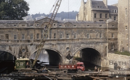 The foundations of Pulteney Bridge being strengthened, Bath c.1970