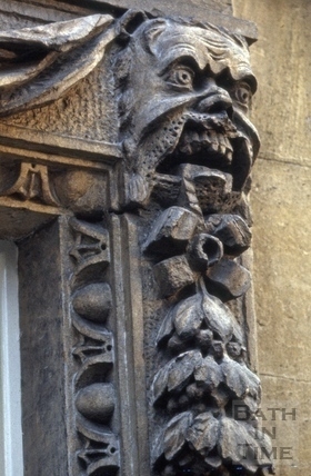 Doorway detail, 2, Queen Square, Bath 1965