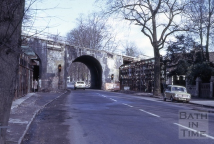Railway bridge, Pulteney Road, Bath 1975