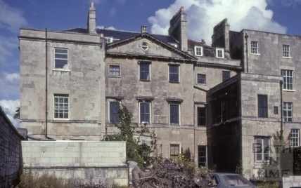 Rear of northwest corner of Queen Square, Bath 1982