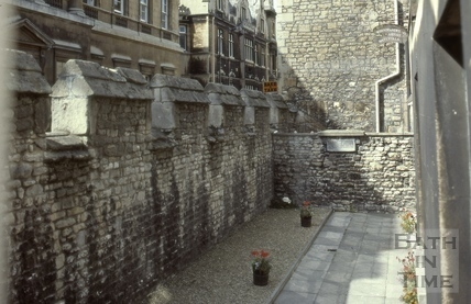 Upper Borough Walls city wall overlooking ancient burial ground 1980