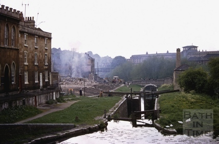 Waterloo Buildings demolition from Pulteney Road bridge, Bath 1969