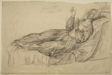Draped female figure lying on a couch (representing 'Thursday' or 'Friday')