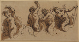 Three tritons and a siren - study for the decoration of the ceiling of Greenwich Hospital (?)