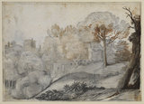 Landscape with trees and buildings (recto)