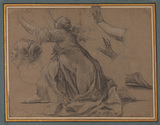 Kneeling female figure, and other studies