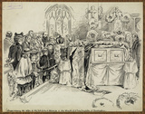 Villagers viewing the coffin of the late Duke of Clarence in the Church of Saint Mary Magdalen, at  Sandringham