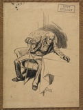 Old man with a walking stick seated in an armchair