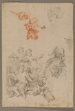 Sheet of figure studies - a. group of three putti, b. bust of a man, c. detail of chain mail, d. head of a man in turban, e. five winged heads of cupids) (recto)