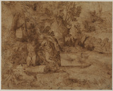 Landscape with the sacrifice of Isaac (recto)