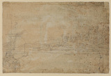 View of a hill town from the sea (verso)