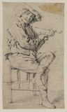 Young man seated with a pipe