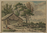 Landscape with sheep and shepherds before a barn