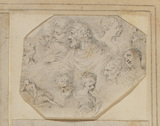 Twelve small heads and a female figure