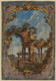 Decorative panel with landscape and classical ruins