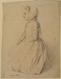Full length seated left profile view of young girl - Anne Hoare