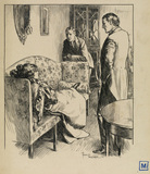 Illustration to 'The Entrance of Tobias - two standing men with a young woman lying on a couch