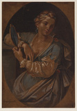 Woman seated holding mirror