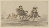 Caricature of horsemen riding in the country