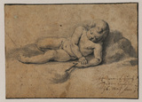 Recumbant nude child - infant Saint John the Baptist (?)