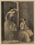Two courtesans by a doorway