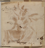 Sketches of a horse, lions and dog, in a later hand (verso)
