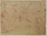 Sheet of studies with heads of angels and arms