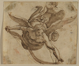 Flying angel with a scroll
