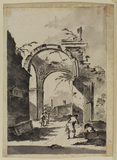 Landscape with ruined arch and figure