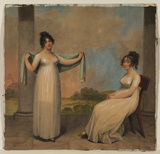 Two young ladies on a terrace