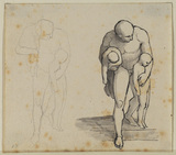 Two studies of a nude male figure carrying two nude children