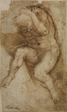 Nude male figure (after Michelangelo's Last Judgment)