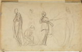 Study of five female figures (verso)