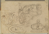 Figure studies (a. man in armour, b. urn, c. shield or platter, d. costume of a seated man) (verso)