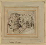 Two heads, a bearded man and youth, in left profile