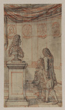 Design for a frontispiece of a French grammar - master and pupil standing before a pedestal with a bust, in a hall, portrait medallions on the walls
