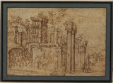 Landscape with classical ruins and figures