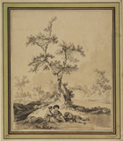 Landscape with three figures resting at the foot of a tree