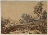 Classical landscape with shepherd and flock