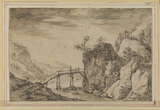 Rocky landscape with footbridge over a stream