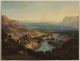 Valley of Terni with the river Nera after the waterfall of the Marmore and the village of Papigno