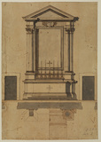Plan and front elevation for an altar
