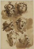 Six grotesque heads