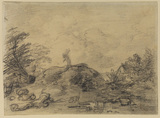 Landscape with a figure carrying sticks