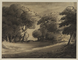 Flat landscape with trees and road