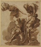 Studies of figures - man walking; draped female figure; two male saints after Tintoretto's 'Last Judgment'
